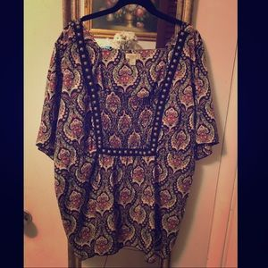 Paisley antique gold beaded blouse smock top